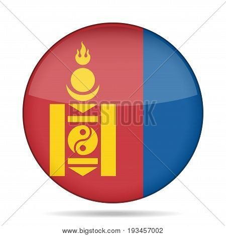 National flag of Mongolia. Shiny round button with shadow.