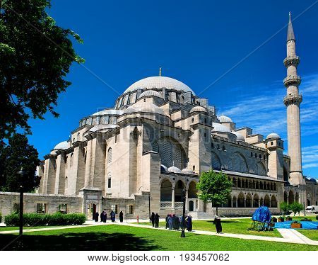 Suleymaniye Mosque in Istanbul at sunny summer day, Turkey