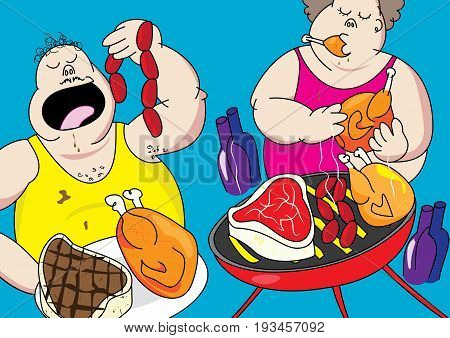 funny barbecue party pig out cartoon vector illustration