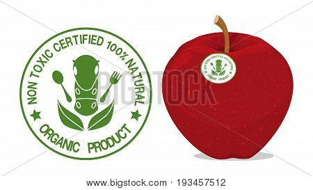 Organic logo design element and the Organic logo on apple