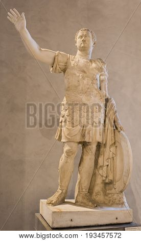 ParisFrance- May 032017: Statue of Emperor Titus.Collections royales francaises.Louvre