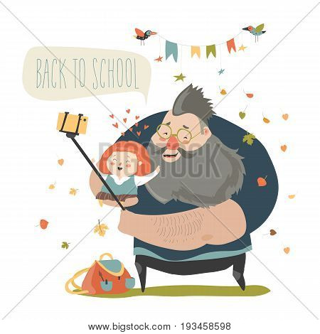 Little girl making selfie with her father. Back to school. Vector illustration