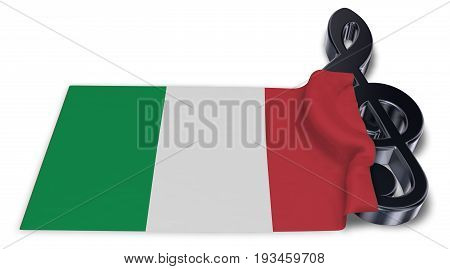 clef symbol and italian flag - 3d rendering