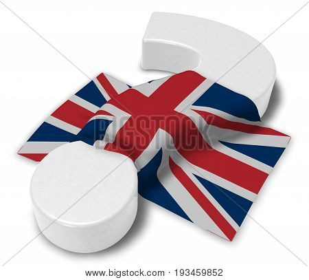 question mark and flag of the uk - 3d illustration