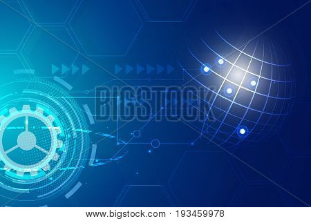Digital hitech technology with gearwheel and Geometric network lines background, vector