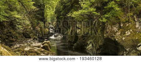 Stunning Landscape Panorama With River Flowing Through Deep Sided Gorge With Vibrant Green Foliage