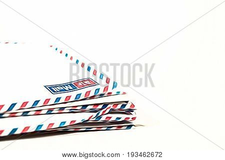 Airmail letters postage envelopes on white background