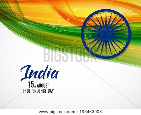 Indian Independence Day Background with Waves and Ashoka Wheel. Vector Illustration EPS10