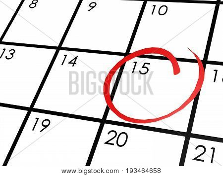 Calendar With The 15Th Day Circled