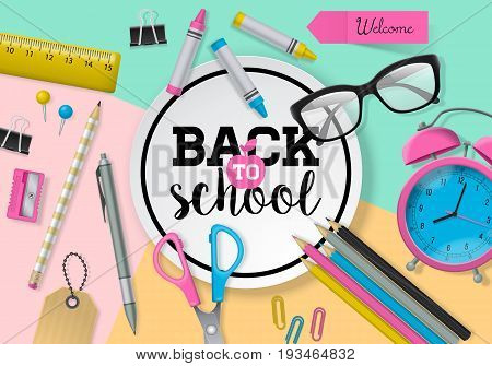 Back To School Banner Design With Lettering, School Supplies And Paper Note. Flat Lay Style