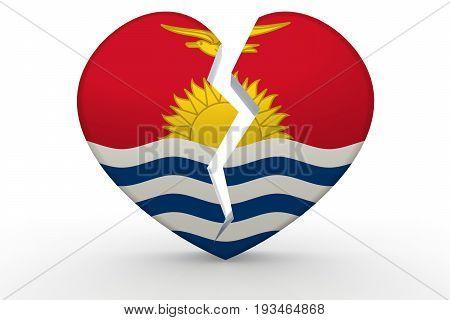 Broken White Heart Shape With Kiribati Flag