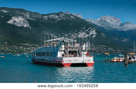 Passenger Cruise Ship On  Annecy Lake. Haute-savoie, France