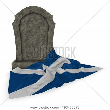 gravestone and flag of scotland - 3d rendering