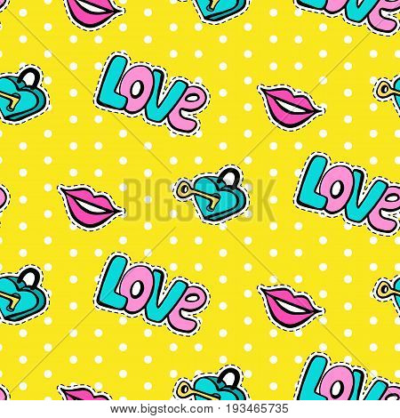 Seamless pattern with fashionable patch set. Hand drawn lips, love background. Comic romantic stickers, pins, patches, badges  doodle in cartoon pop art 80s-90s style. Vector illustration
