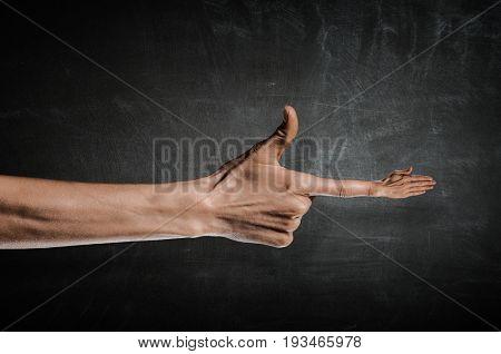 Greeting gesture on forefinger .