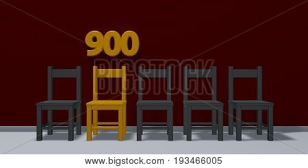 number nine hundred and row of chairs - 3d rendering