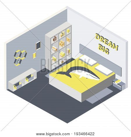 Isometric illustration of bedroom Flat 3d interior design hotel icon accommodation. Set of bedroom furniture