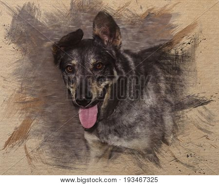 Watercolor style pattern of a brown dog with a tongue