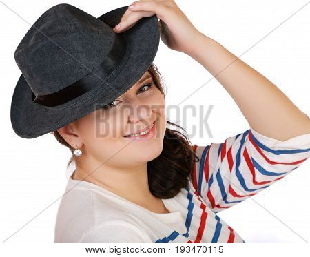 Full Girl With Hat Smiling On White
