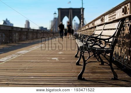 Wooden bench on the Brooklyn bridge in new York