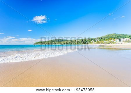 Noosa's Main beach on a clear and sunny day on the Sunshine Coast in Queensland, Australia