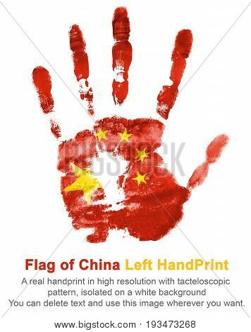 Left hand print in China flag color. The imprint of national colors isolated on white background