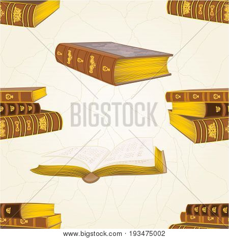 Seamless texture old leather-bound books vintage vector education illustration editable hand draw