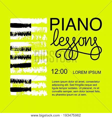 Vector illustration piano lessons poster design. Hand drawn design elements.