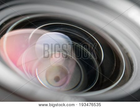 Closeup of camera lens and reflexes