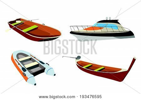 Set Of Boat: Speedboat, Pirogue, Raft And Boat Icon. Cartoon Vector Illustration