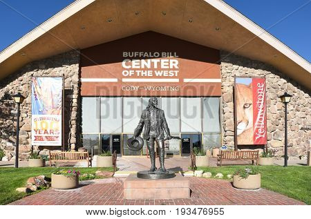 CODY, WYOMING - JUNE 24, 2017: Statue of Buffalo Bill at the Center of the West. A complex of five museums and a research library featuring natural history, art and artifacts of the American West.