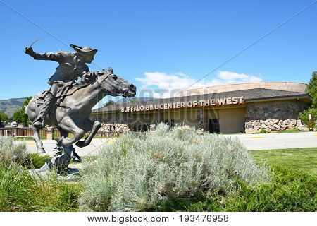 CODY, WYOMING - JUNE 24, 2017: Horse and Rider statue at Buffalo Bill Center of the West. A complex of 5 museums and research library featuring natural history, art and artifacts of the American West.
