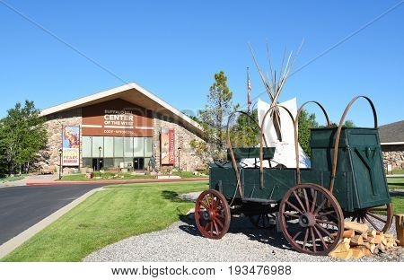 CODY, WYOMING - JUNE 24, 2017: Chuckwagon at Buffalo Bill Center of the West. A complex of five museums and a research library featuring natural history, art and artifacts of the American West.