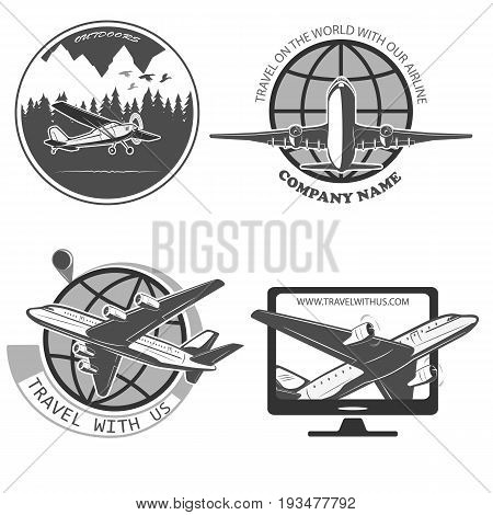 A set of labels for advertising companies for air transportation. Large airliner and small biplane