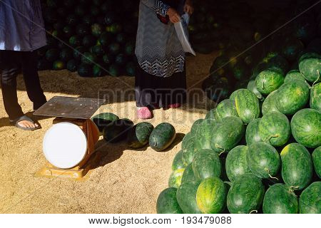 Watermelon Shop Along The Way With Healty Food And Fruit Vitamin