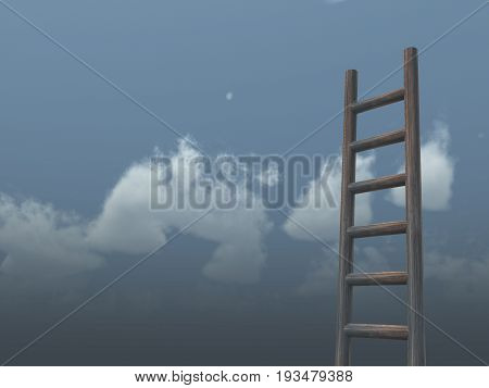 ladder in front of cloudy sky - 3d illustration