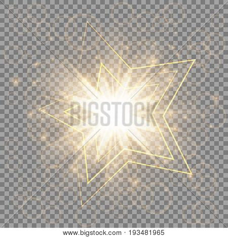 Christmas golden star with light effects close-up on a transparent background
