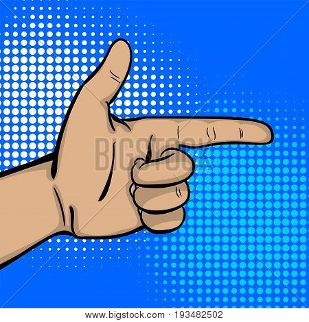 Pop art comic text cartoon strong man hand show finger pointer. Human guy wow poster halftone dot background. Gesture advertisement arm message. Bright color illustration.
