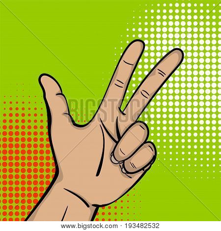 Pop art comic text cartoon strong man hand show number three finger. Human guy wow poster halftone dot background. Gesture advertisement arm message. Bright color illustration.