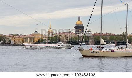St. Petersburg Russia - 28 May, River ships Near the Palace Bridge, 28 May, 2017. Famous sightseeing places of St. Petersburg for tourists.