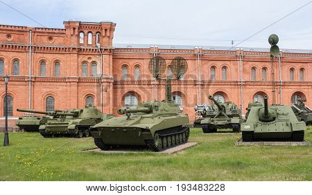 St. Petersburg Russia - 28 May, Exhibition of self-propelled artillery, 28 May, 2017. Military History Museum of combat equipment in St. Petersburg.