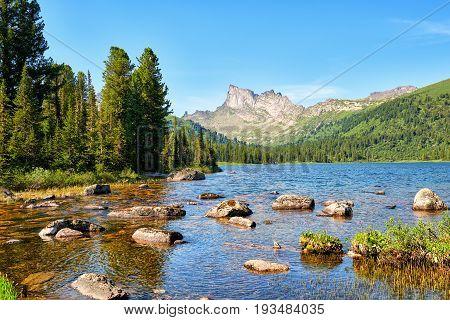 Lake In Mountain Taiga