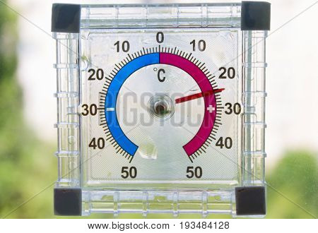 Plastic thermometer glued to the glass