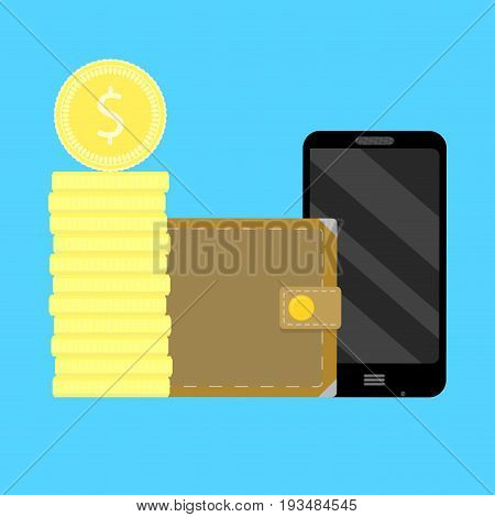 Mobile account replenishment. Telephone transaction gold coins money vector illustration