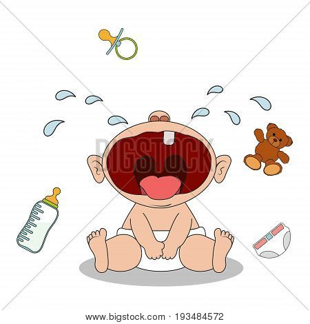 Little baby boy sits and cries. Health problems and teething. He wants to eat or drink or play with a toy. Isolated on white background. Stock vector cartoon illustration