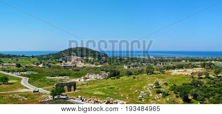 Panoramic view of the antique ruins in Patara Antalya province Turkey.