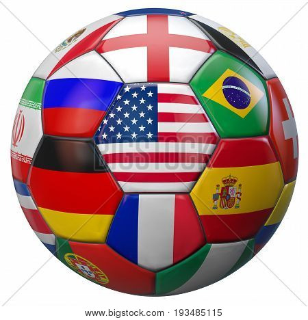 USA soccer football with world national teams flags. Clipping path included for easy selection. 3D illustration.