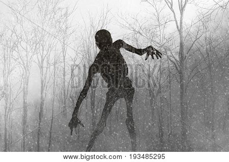 3d illustration of Scary monster out from the wood