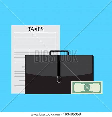 Business taxes vector. Tax business accounting and illustration of business tax forms