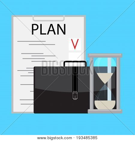 Planning and managing time business. Time is money clock and management stress management and hourglass vector illustration